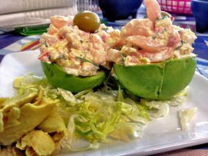 Avacado stuffed with crab salad - El Marisquero Restaurant - Alamo TX - December 2012