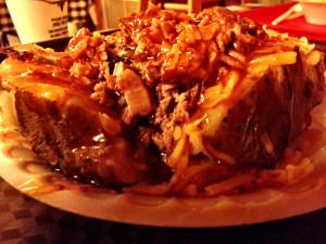 giant stuffed baked potato - Willies BBQ - Alamo TX - December 2012