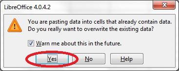 13 spreadsheet paste message